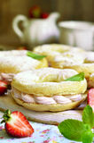 Choux pastry ring with filling. Stock Images