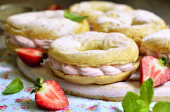 Free Choux Pastry Ring With Filling. Royalty Free Stock Photography - 55830247