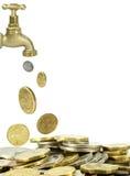 Chovendo o dinheiro e a torneira Fotos de Stock Royalty Free