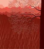 Chovendo a paisagem da natureza com a árvore na noite Imagens de Stock Royalty Free