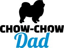 Chow-chow dad silhouette. With blue word Stock Photos