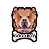 Chow Chow dog breed. Bone. Good boy inscription. Chow Chow portrait. Vector. Chow Chow dog breed. Bone. Good boy inscription. Chow Chow portrait. Vector Stock Photography