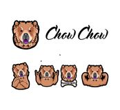 Chow Chow dog. Rock gesture, Muscles, Bone, Middle finger, Horns. Dog head, muzzle, face. Dog breed. Vector. Chow Chow dog. Rock gesture, Muscles, Bone, Middle Stock Photo