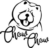 Chow-chow head silhouette. With hand-written word Stock Photo