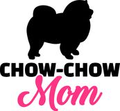 Chow-chow mom silhouette. With pink word Royalty Free Stock Photo