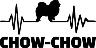 Chow-chow heartbeat word. Heartbeat pulse line with Chow-chow dog silhouette Stock Photo