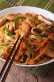 Κινεζικά τρόφιμα: Chow mein κινηματογράφηση σε πρώτο πλάνο κάθετος Στοκ Εικόνα