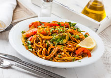 Chow mein. A meal of vegetarian stir-fried chow mein stock images