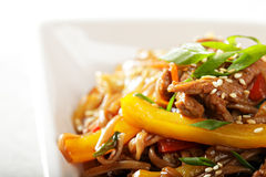 Chow mein noodles with beef closeup Stock Images