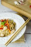 Chow mein noodles with chicken, mushrooms, carrots and onions Royalty Free Stock Photography