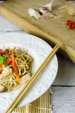 Chow mein noodles with chicken, mushrooms, carrots and onions Stock Photos