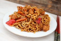 Chow Mein noodles. Fried noodles with chicken and vegetables Stock Images