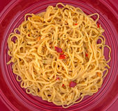 Chow Mein With Shrimp Seasonings On Bright Plate Royalty Free Stock Photography