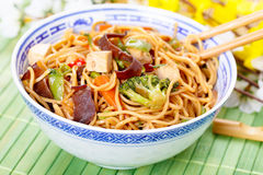 Chow mein. Stir-fried noodles with vegetables royalty free stock photography