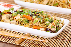 Chow mein. Stir-fried noodles with vegetables stock photo
