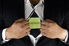Chować depresję Mężczyzna w kostiumu otwiera jego wewnętrzną koszula wyjawiać jego depresję i rozpina Słowo depresja napisze obraz royalty free