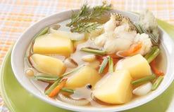 Chowder do granadeiro com batatas, cenouras Fotos de Stock