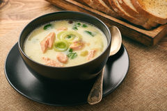 Chowder fish soup with rainbow trout. Chowder fish soup with rainbow trout Royalty Free Stock Photography
