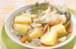 Chowder of the grenadier with potatoes, carrots Stock Photos