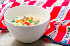 Chowder with a salmon and bacon Royalty Free Stock Image