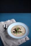 Chowder soup of wild mushrooms and chestnuts, with chives Stock Photos