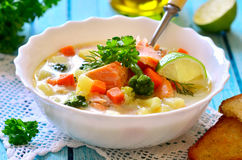 Chowder with trout. Royalty Free Stock Photos