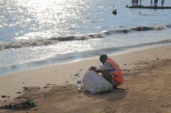 Chowpatty beach rubbish cleaner Mumbai India stock image