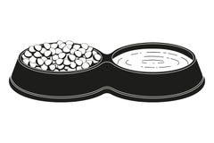 Choyez la silhouette de nourriture et d'eau de cuvette de 2 sections Image libre de droits