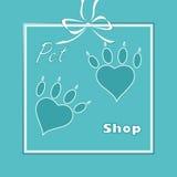 Choyez le logo de coeur, logo de patte de chien, boutique de zoo illustration de vecteur