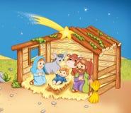 Choza con la familia sagrada stock de ilustración
