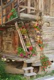 Choza de la montaña con las flores ornamentales Imagen de archivo libre de regalías