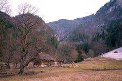 Choza de la montaña en un valle pintoresco foto de archivo