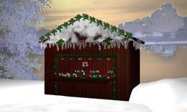 Choza de la Navidad con las guirnaldas del advenimiento, la pequeña hada y Adve ardiente ilustración del vector