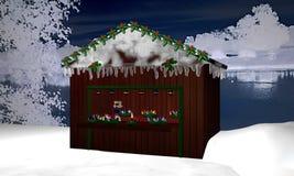 Choza de la Navidad con las guirnaldas del advenimiento, la pequeña hada y Adve ardiente libre illustration