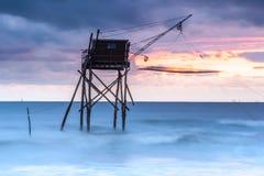 Choza de la pesca de Pecherie en el mar Fotografía de archivo