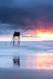 Choza de la pesca de Pecherie en el mar Foto de archivo libre de regalías