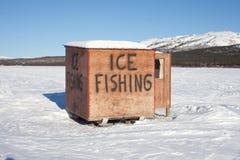 Choza de la pesca del hielo Fotografía de archivo