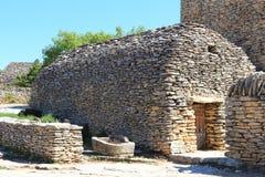 Choza de la piedra seca, Bories Village, Gordes, Francia imagenes de archivo