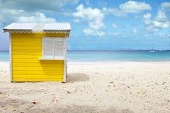 Choza de la playa, Barbados Foto de archivo