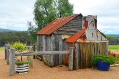 Choza de los colonos, Pokolbin, Australia foto de archivo