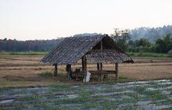 choza de madera en la granja Fotografía de archivo