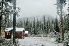 Choza del guarda del bosque de Rockies Foto de archivo