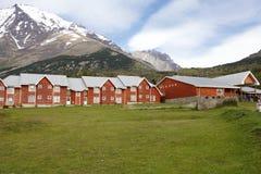 Choza en el parque nacional de Torres del Paine, Patagonia chilena, Chile de la montaña Foto de archivo