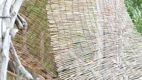 Choza improvisada del refugio de la playa de la madera de deriva almacen de metraje de vídeo