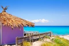 Choza púrpura tropical de Formentera en la playa de la turquesa Imágenes de archivo libres de regalías