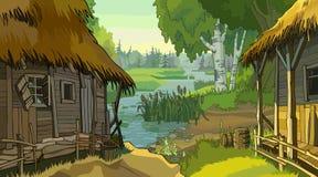 Choza rústica del paisaje de la historieta por el río stock de ilustración