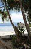 Choza tropical por el océano visto a través de las palmeras fotos de archivo