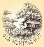 Choza vieja de la caza stock de ilustración
