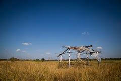 Choza vieja en el campo del arroz en el cielo azul Imagen de archivo