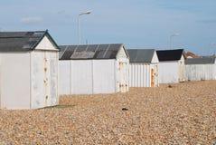 Chozas británicas de la playa, Sussex Imagenes de archivo